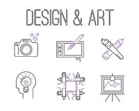 Art icons set vector illustration design linear symbols artistic pictogram creativity button graphic collection thin Royalty Free Stock Images