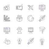 Art icons set vector illustration design linear symbols artistic pictogram creativity button graphic collection thin Stock Photo