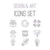 Art icons set vector illustration design linear symbols artistic pictogram creativity button graphic collection thin. Vector illustration of thin line icons for royalty free illustration