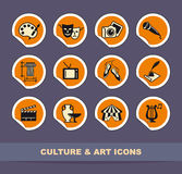 Art icons on stickers Stock Image