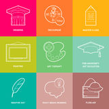 Art icons - vector. Art studio icons for web design Stock Images