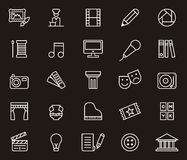 Art icons. Various art or artistic white outline icons on black background royalty free stock image