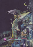 Art illustration. A bearded man with wings, holding a candle and an umbrella, walking at night a toy dog, we see the moon, the houses, and the trees, over a dark Stock Images