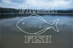 Illustration of fresh fish logo on a background photo of the sea