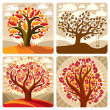 Art illustration of orange trees growing on beautiful meadow Stock Photography