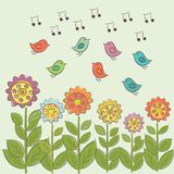Art illustration with sing birds and flowers. Royalty Free Stock Photo