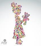 Art illustration of tiny girl holding teddy bear. Teenager Stock Images