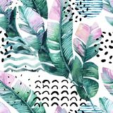 Art illustration with tropical leaves, doodle, grunge textures, geometric shapes in 80s, 90s minimal style. Abstract summer background. Art illustration with Stock Image