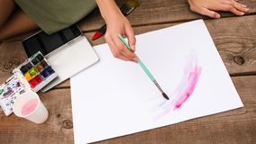 Art inks colours inspiration painting concept. Courses for artists. Working process royalty free stock photography