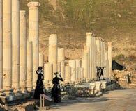 Art installation on ancient street of Scythopolis, Beit Shean National Park, Israel. stock photography