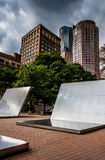 Art installation and buildings in Boston, Massachusetts. Stock Photography