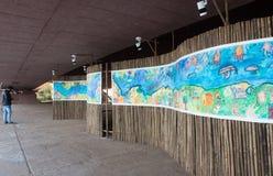 Art installation depicting environmental impact on waterways. Goa, India - Dec 18, 2018: An art installation as part of the Serendipity Art Festival in Goa stock image