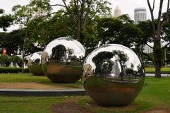 Art installation of large metallic spheres in Singapore stock image