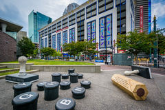 Art installation and modern buildings in Uptown Charlotte, North. Carolina Stock Photo