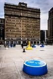 Art installation and One City Plaza in Center City, Philadelphia Royalty Free Stock Photo