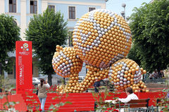 Art installation of the soccer balls royalty free stock image