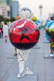 Art - installation, symbolizing countries of the world. Astana. Kazakhstan Stock Photo
