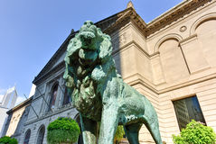 The Art Institute Of Chicago. Lion statue in front of The Art Institute Of Chicago stock photography