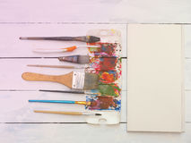 Art instrument,watercolor,brush,palette and paper Stock Photos