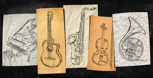 Art Instruments music background. Art paper on blackboard Stock Photography
