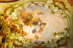 Art of interiors of St.Nicholas Church in Prague Royalty Free Stock Images