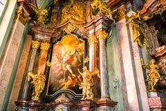 Art of interiors of St.Nicholas Church in Prague Stock Image
