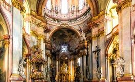 Art of interiors of St.Nicholas Church in Prague Royalty Free Stock Image