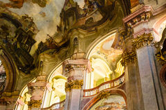 Art of interiors of St.Nicholas Church in Prague Royalty Free Stock Photography