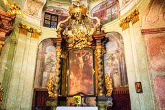 Art of interiors of St.Nicholas Church in Prague Royalty Free Stock Photo