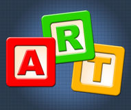 Art Kids Blocks Represents Painting Craft And Toddlers royalty free illustration