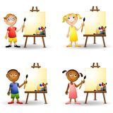 Art Kids Painting Easels Stock Photo