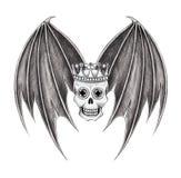 Art king skull wings tattoo. Stock Images