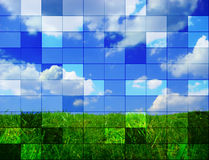 Art landscape. Photo about landscape with green grass, blue sky and white clouds stock illustration