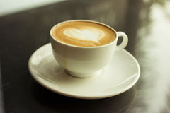 Art latte or cappuccino coffee. Royalty Free Stock Photography