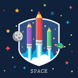 Art launch light bulb and pencil rocket with sky Royalty Free Stock Images