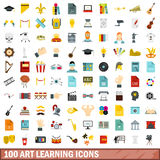100 art learning icons set, flat style. 100 art learning icons set in flat style for any design vector illustration stock illustration
