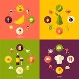 Art-Lebensmittelhintergrund des Vektors flacher Stockfoto