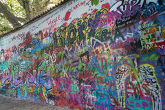 Art on the Lennon Wall in Prague Royalty Free Stock Image