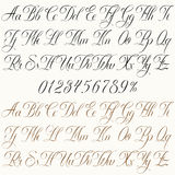 Art of Lettering. Handmade vector calligraphy tattoo alphabet with numbers Stock Photo