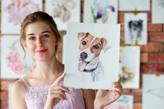 Art lifestyle drawing self expression girl picture. Creative art lifestyle. drawing hobby and self expression. painter holding a watercolor drawing of french stock image