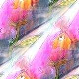 Art light fish, blue, orange background texture watercolor seaml. Ess abstract pattern paint wallpaper color paper Stock Photos