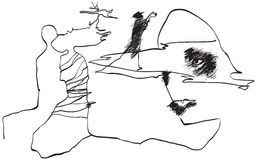 Art of Line Art - Friends royalty free illustration