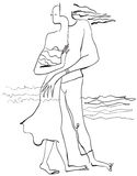 Art of Line Art - Lovers. Lovers on the sea shore. An hand drawn vector illustration from the series: Art of Line Art. Technique: Digital drawing vector illustration