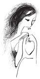 Art of Line Art - Woman with long hair Royalty Free Stock Photos