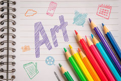 Art on linear paper with colorful pencils Stock Photo
