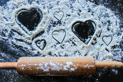 Art of love. Love is everywhere - Home made heart shape sweets stock photo