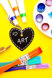 Art - Love. Handwritten on heart shape chalkboard stock image