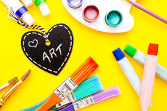 Art - Love. Handwritten on heart shape chalkboard royalty free stock photo