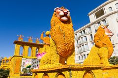Art made of lemons and oranges in the famous Lemon Festival Fete du Citron in Menton, France. The famous fruit garden receives 230,000 visitors a year royalty free stock images