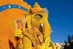 Art made of lemons and oranges in the famous Lemon Festival Fete du Citron in Menton, France. The famous fruit garden receives 230,000 visitors a year stock photos